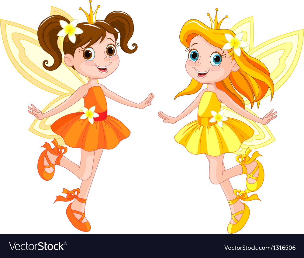Two cute fairies vector | Price: 3 Credit (USD $3)