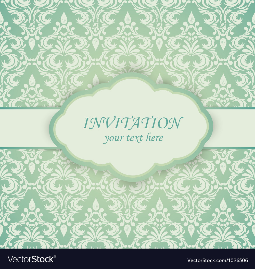 Vintage card with damask pattern vector | Price: 1 Credit (USD $1)