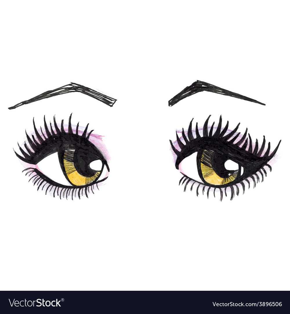 Watercolor yellow female eyes vector | Price: 1 Credit (USD $1)