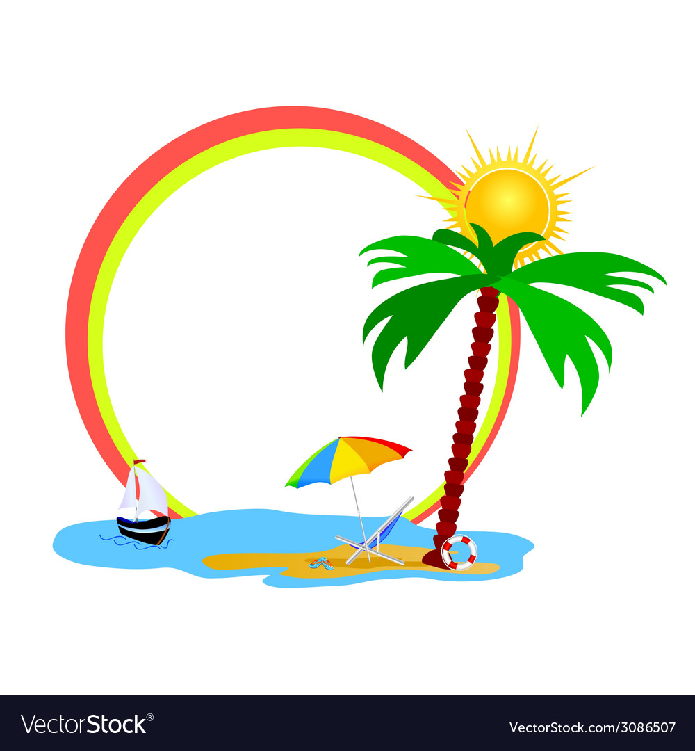Beauty beach an palm tree vector | Price: 1 Credit (USD $1)