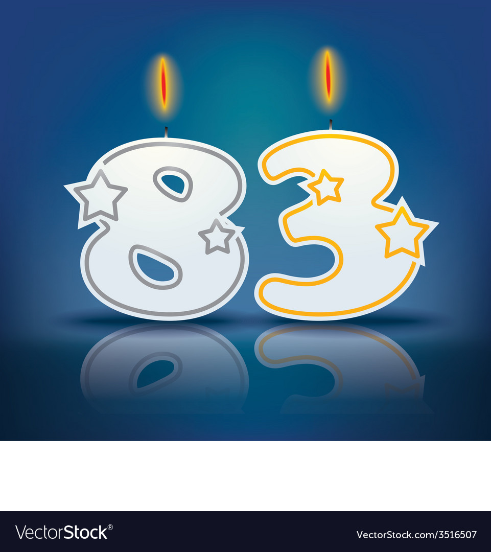 Birthday candle number 83 vector | Price: 1 Credit (USD $1)