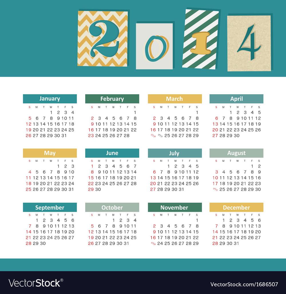 Calendar 2014 vector   Price: 1 Credit (USD $1)