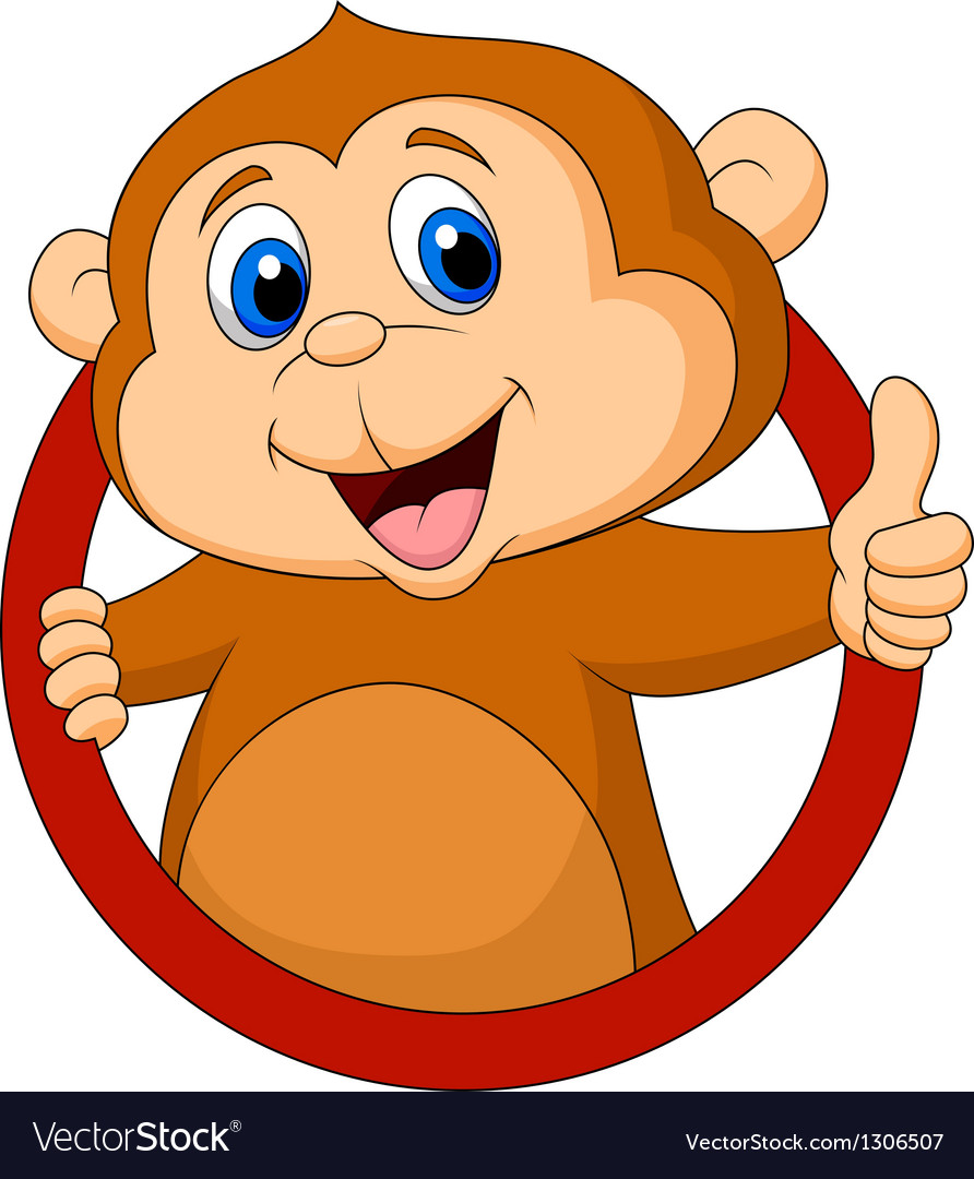 Cute monkey cartoon thumb up vector | Price: 1 Credit (USD $1)