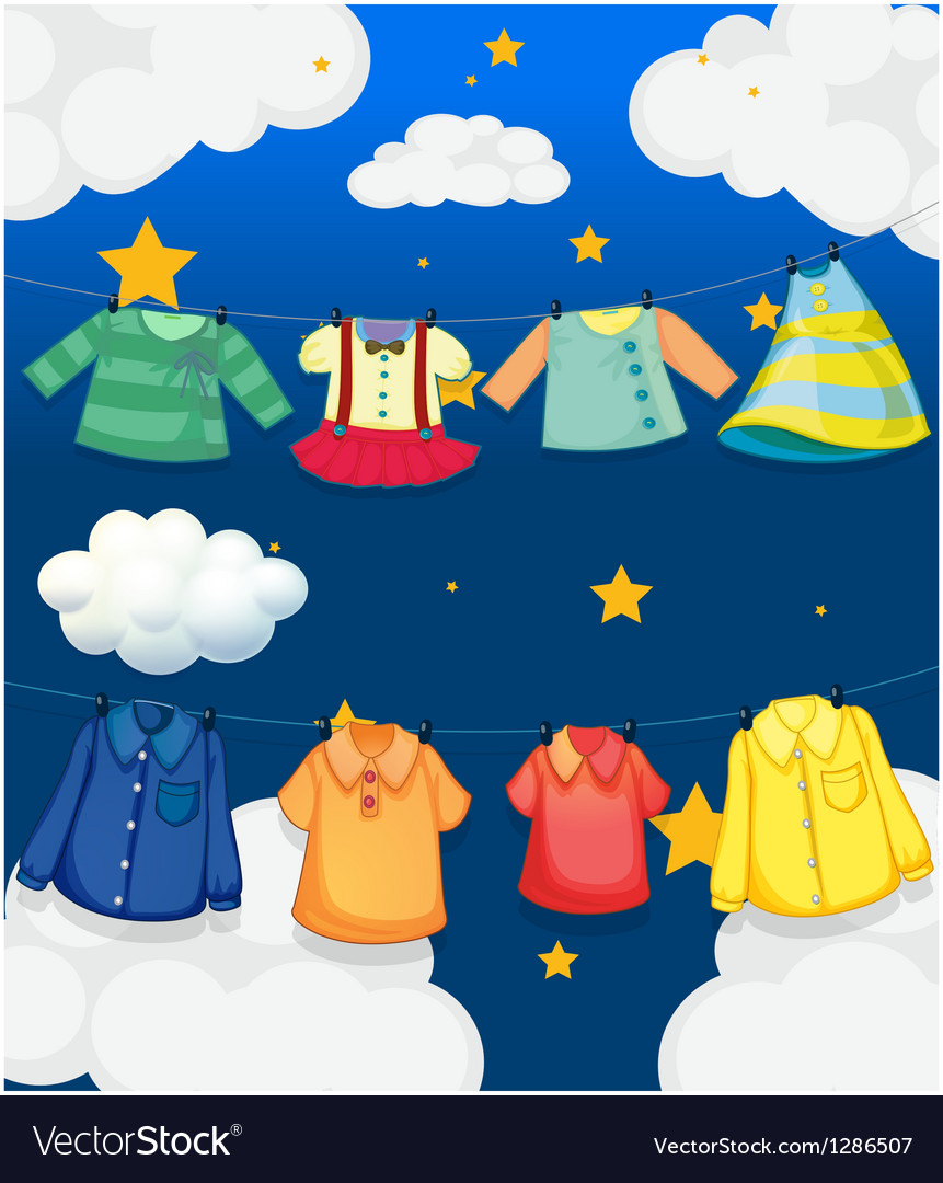 Different hanging clothes vector | Price: 1 Credit (USD $1)