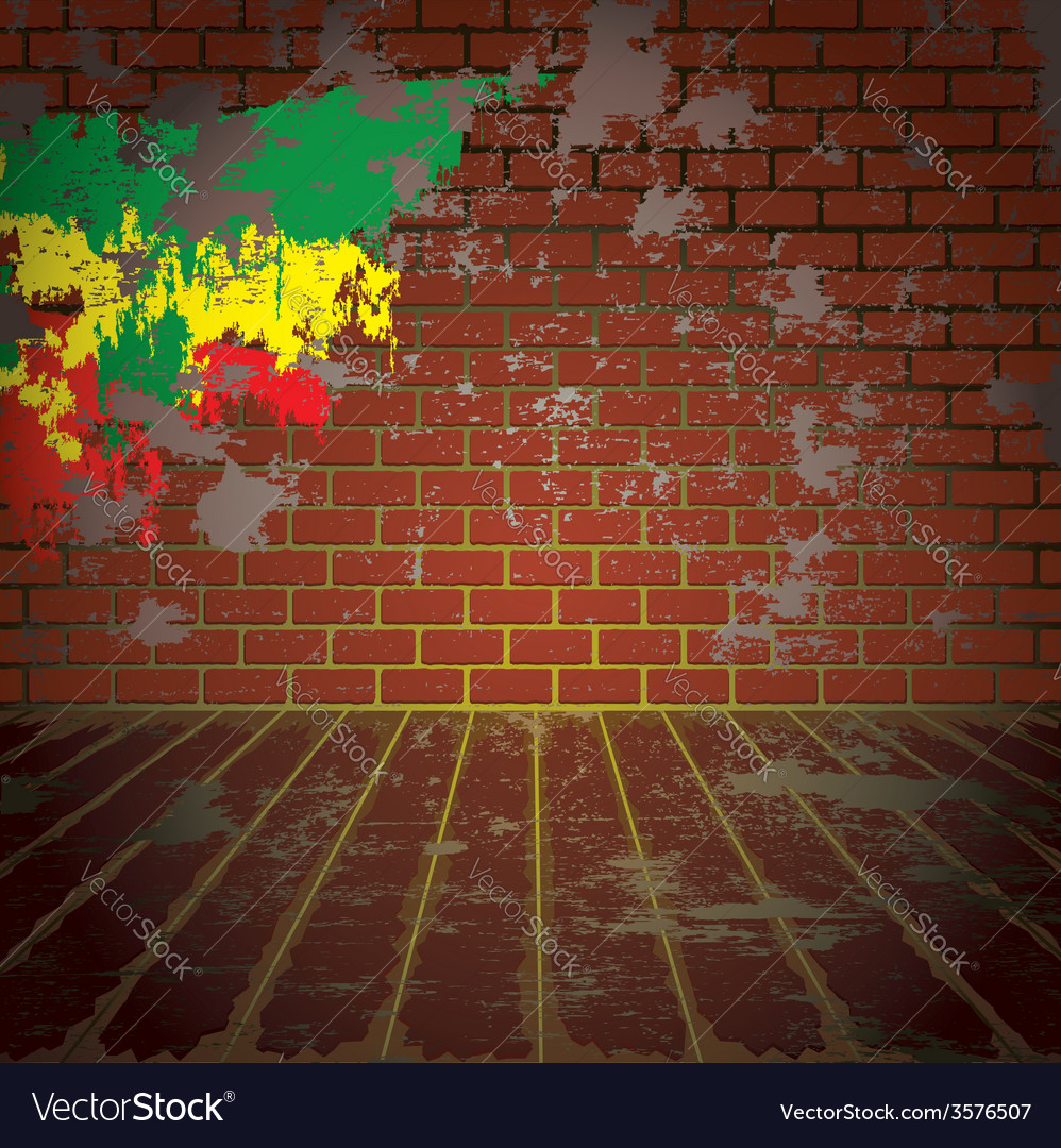 Grunge room with brick wall vector | Price: 1 Credit (USD $1)