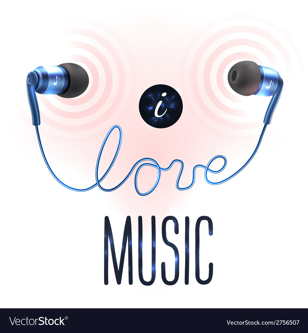 Headphones with love letters vector | Price: 1 Credit (USD $1)