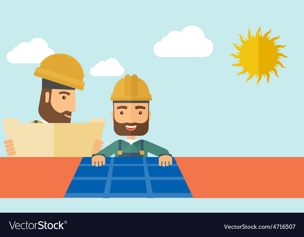 Man putting a solar panel on the roof vector | Price: 1 Credit (USD $1)