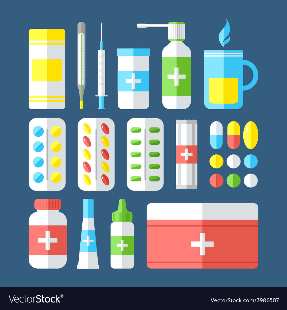 Medicines isolated on dark background vector | Price: 1 Credit (USD $1)