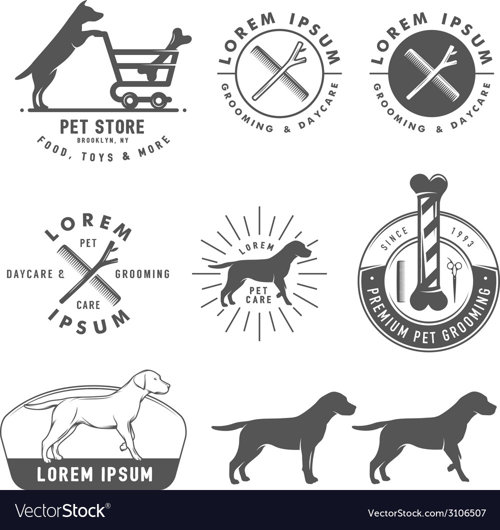 Retro pet care labels badges and design elements vector | Price: 1 Credit (USD $1)