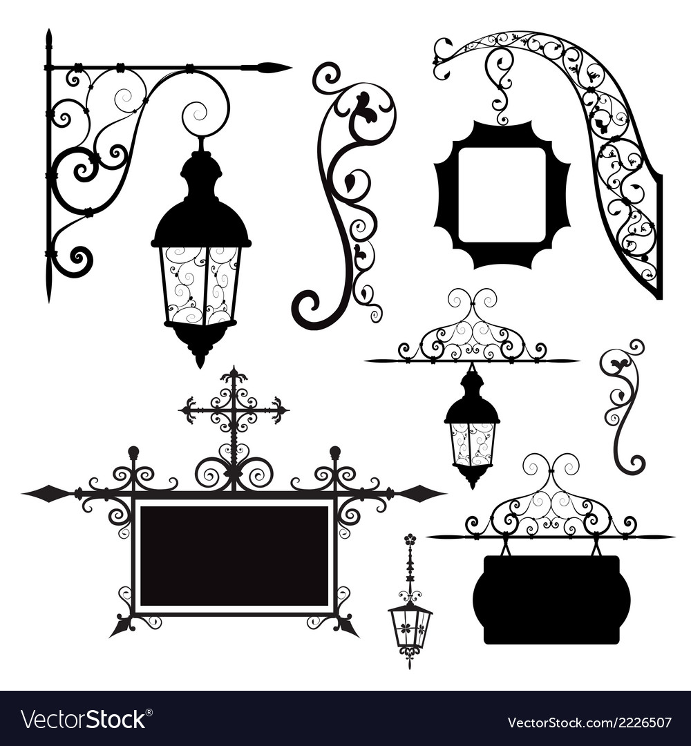Retro street lamps and signboards vector | Price: 1 Credit (USD $1)