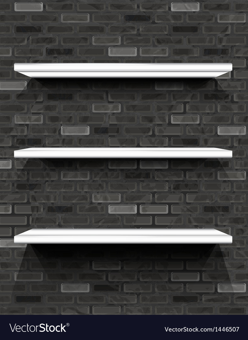 White shelves on brick wall vector | Price: 1 Credit (USD $1)
