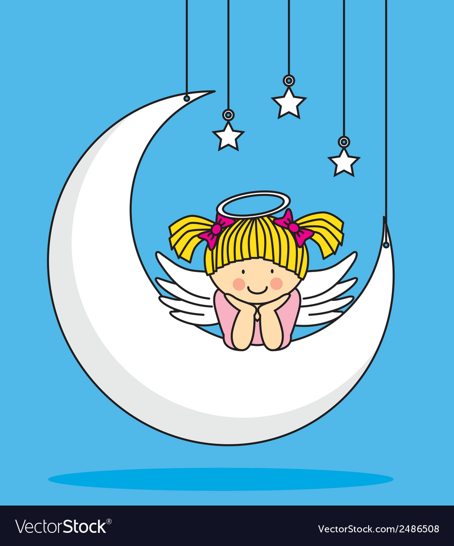 Angel on the moon vector | Price: 1 Credit (USD $1)
