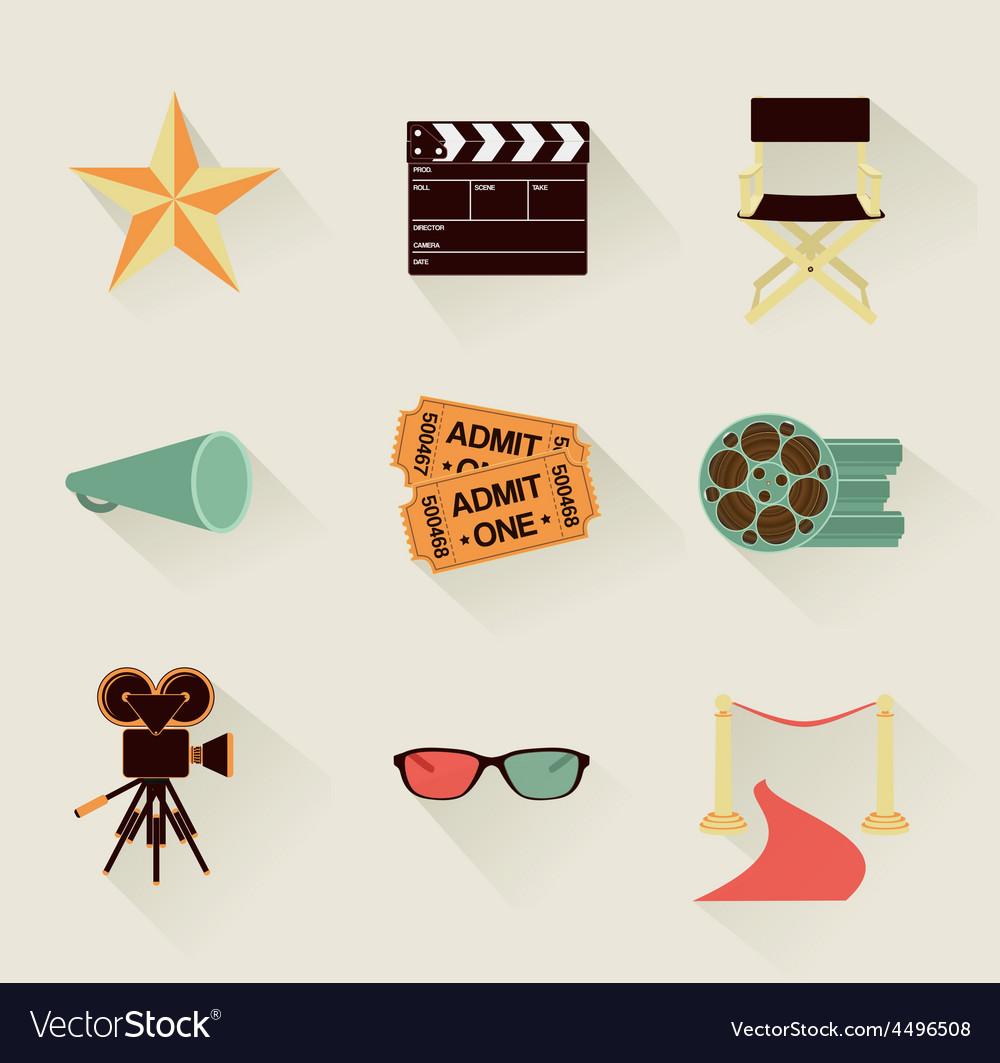 Cinema icons retro vector | Price: 1 Credit (USD $1)