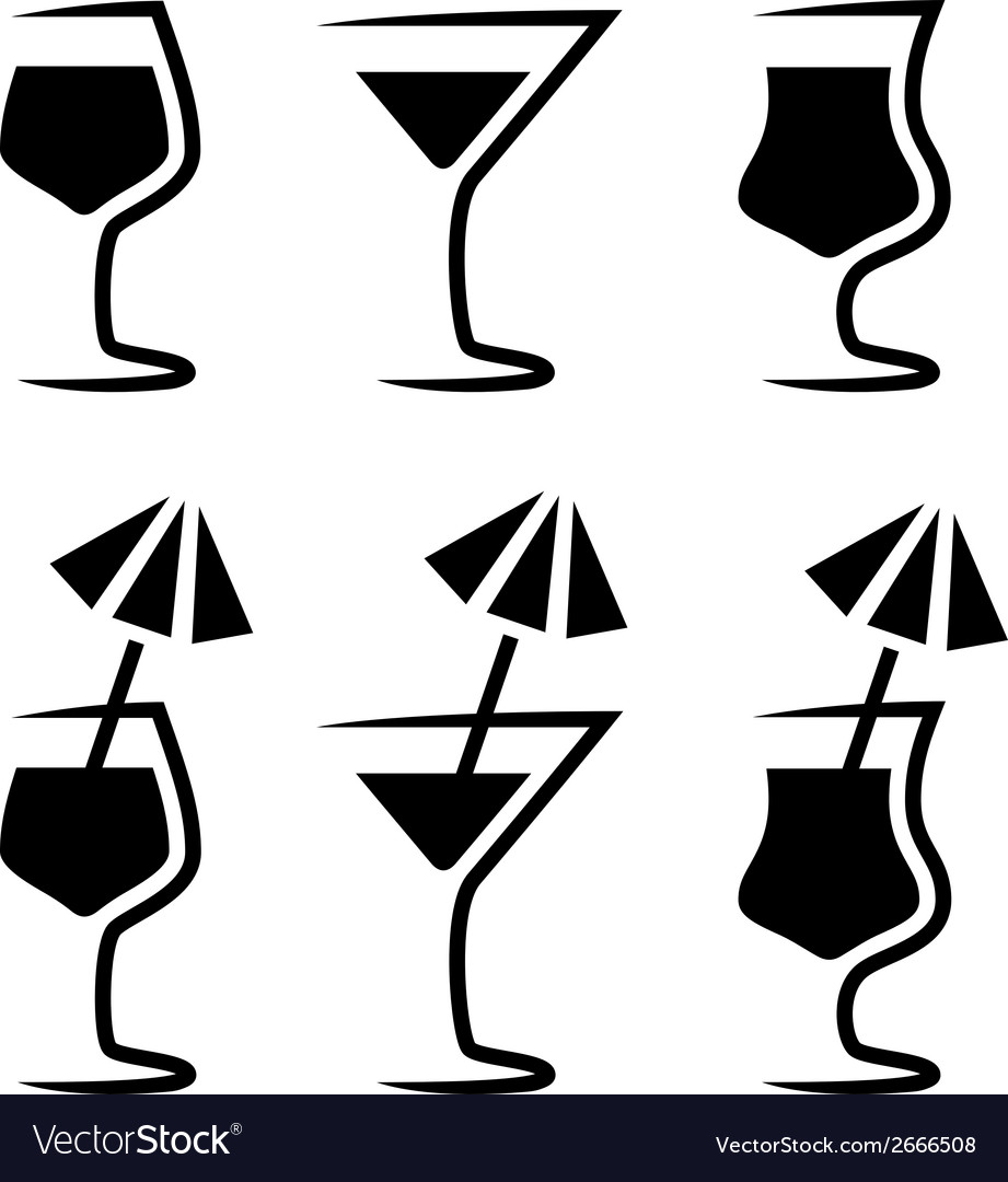 Cocktail glass silhouette with parasol vector | Price: 1 Credit (USD $1)