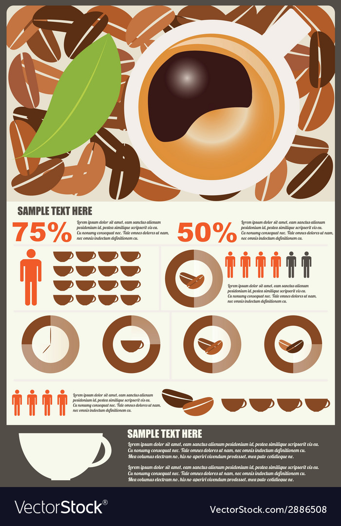 Collection of coffee infographics elements vector | Price: 1 Credit (USD $1)