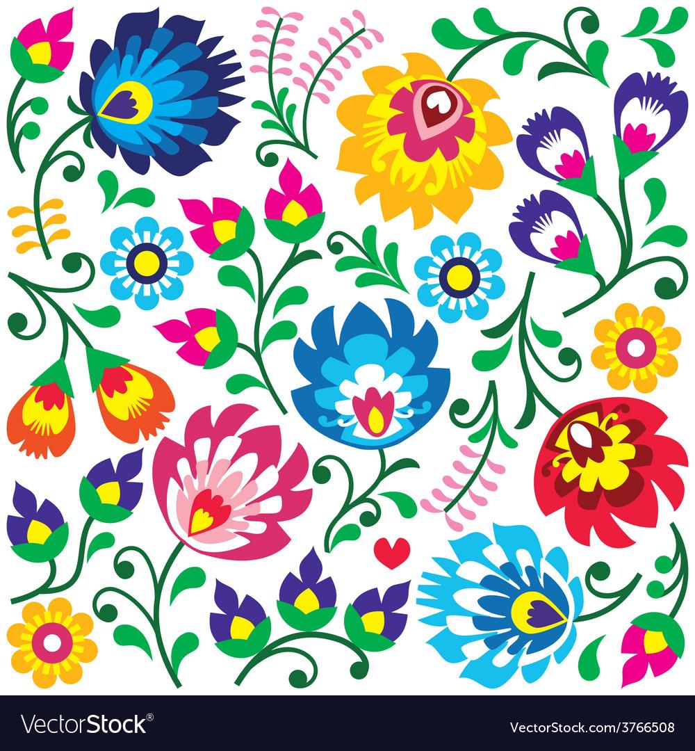 Floral polish folk art pattern in square vector | Price: 1 Credit (USD $1)