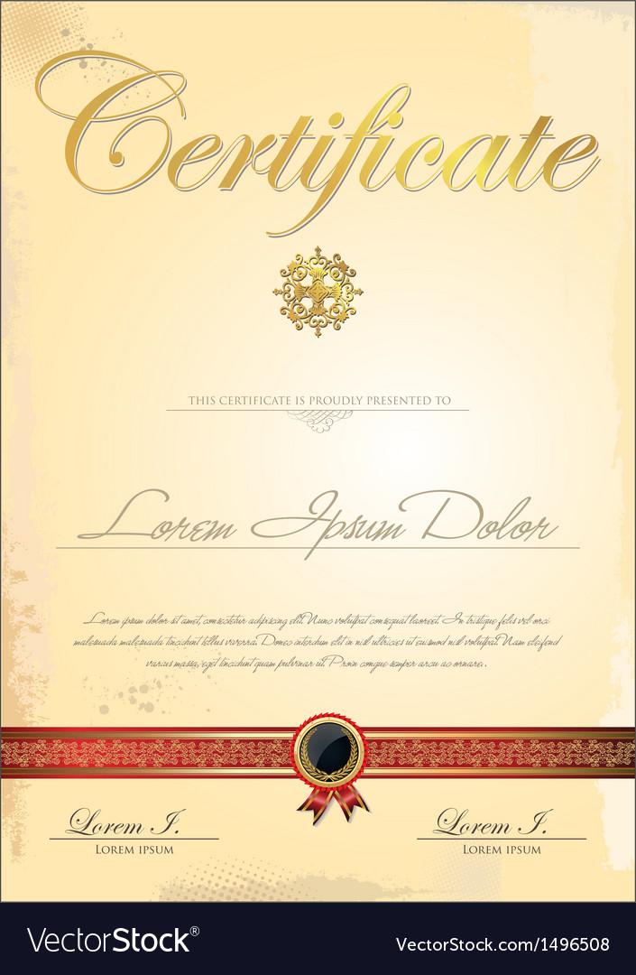 Golden certificate template vector | Price: 1 Credit (USD $1)