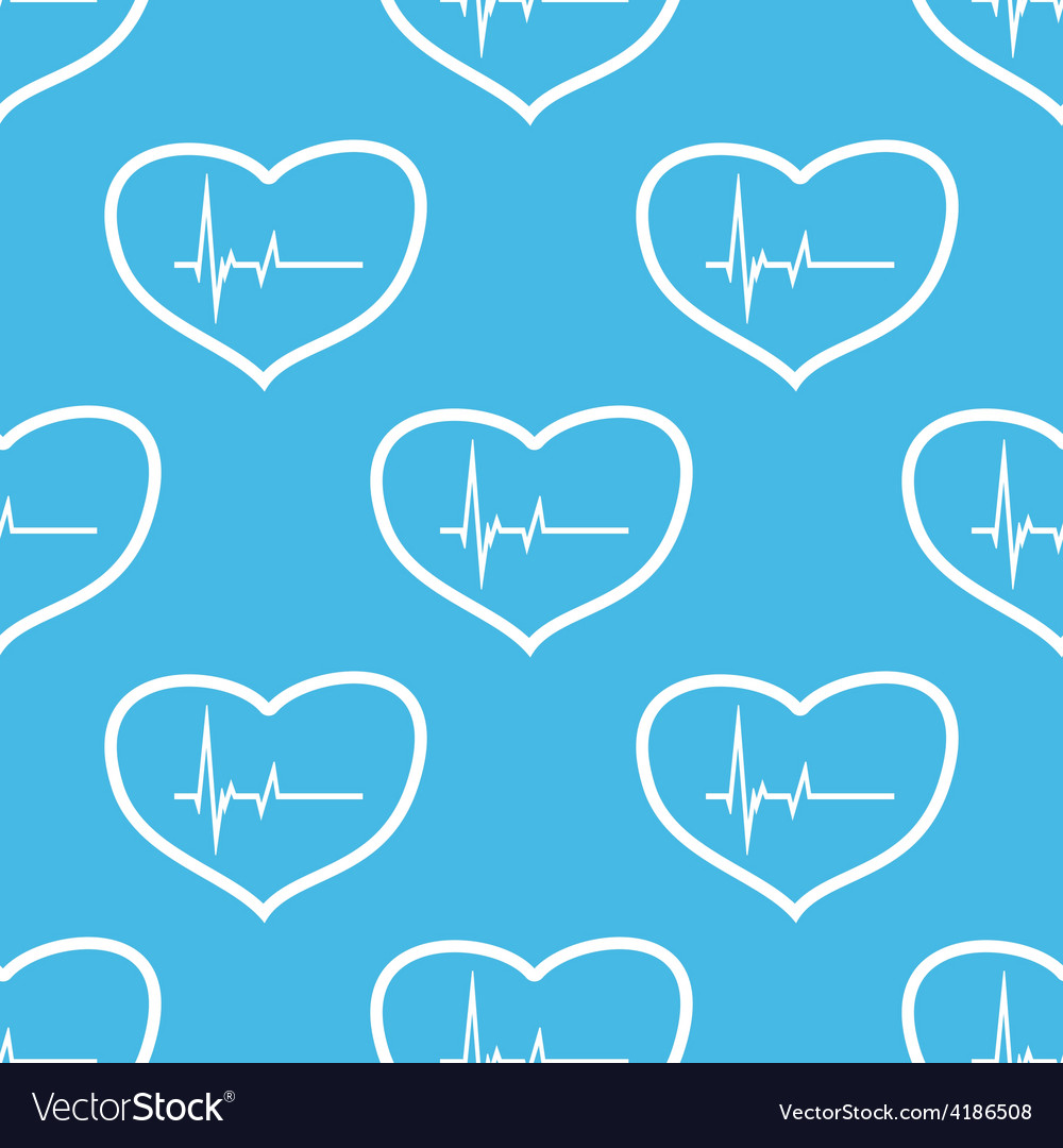 Heartbeat seamless pattern vector | Price: 1 Credit (USD $1)