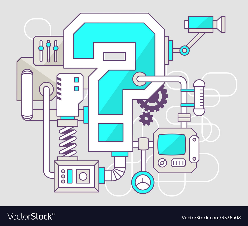 Industrial of the mechanism of question mark vector | Price: 1 Credit (USD $1)