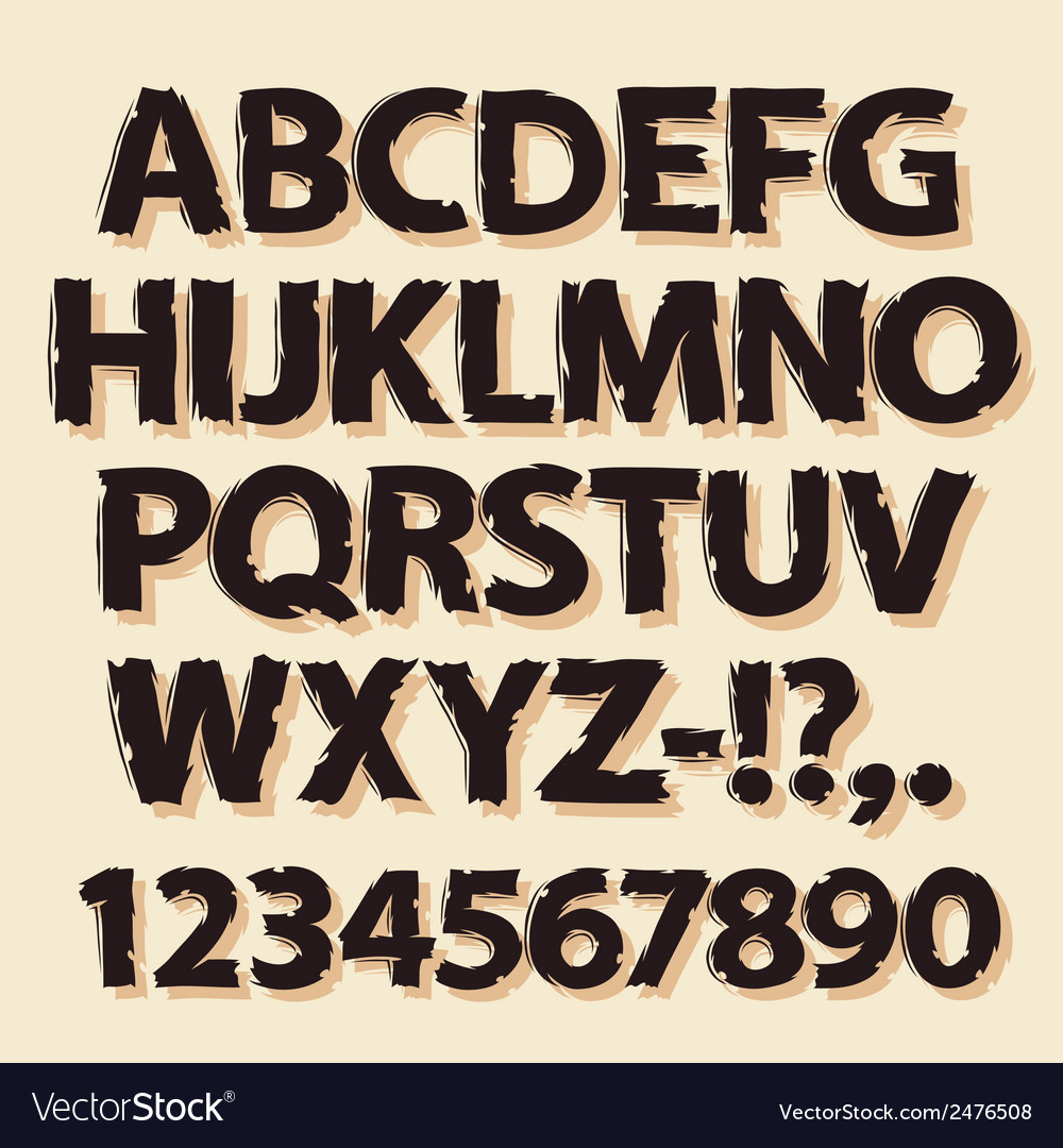 Ink drawing retro alphabet brown vector | Price: 1 Credit (USD $1)