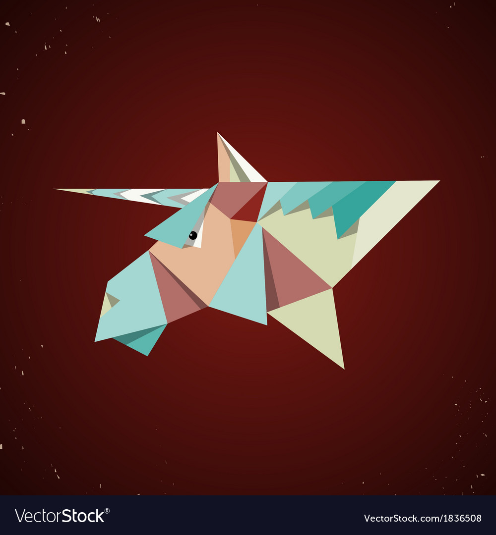 Magic origami unicorn from folded paper vector | Price: 1 Credit (USD $1)