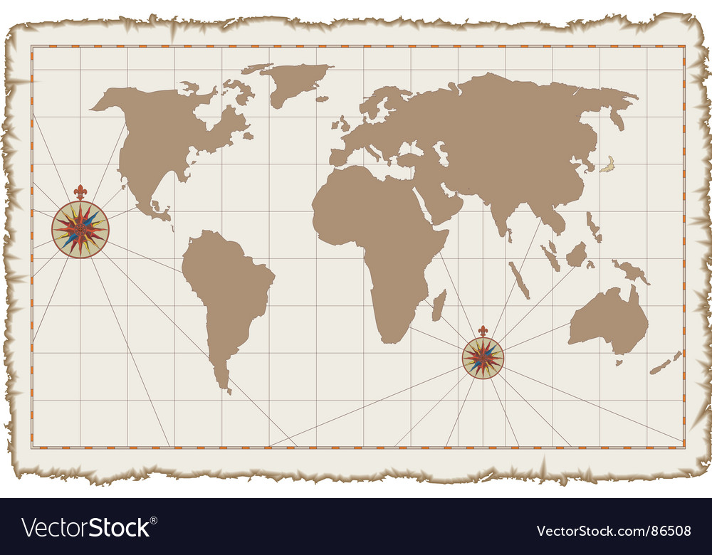 Old world map on parchment vector   Price: 1 Credit (USD $1)