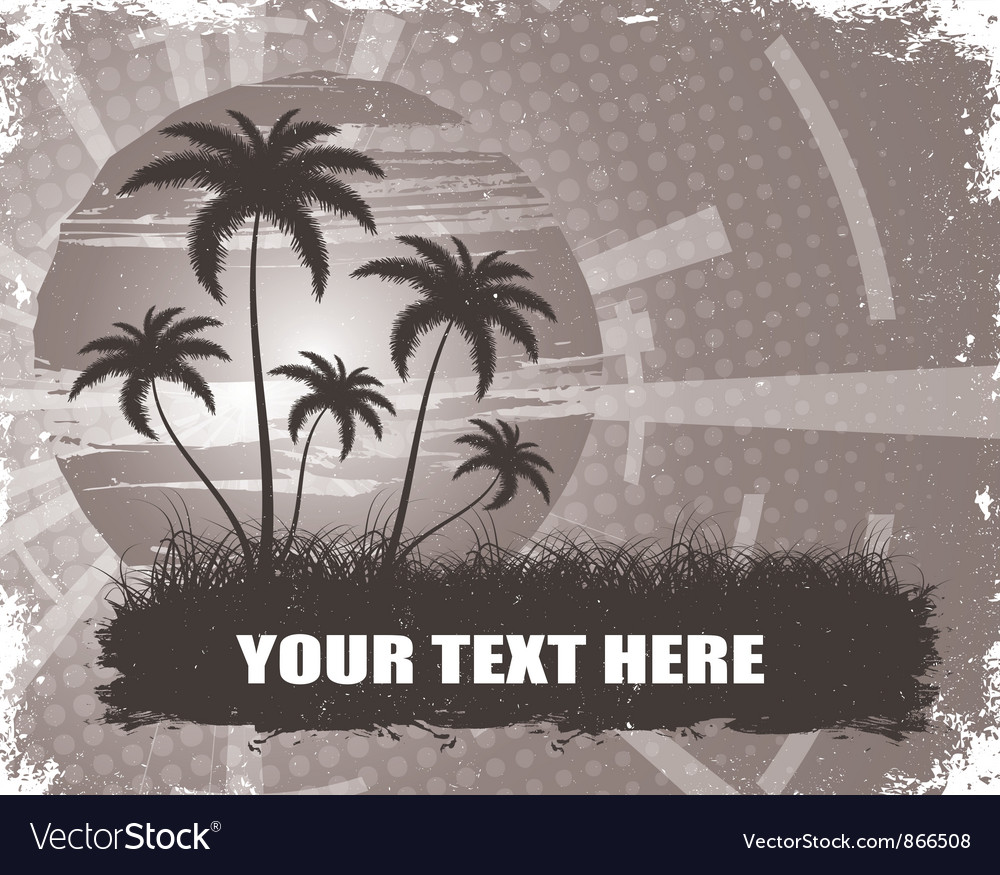Summer grunge background with palm trees vector | Price: 1 Credit (USD $1)