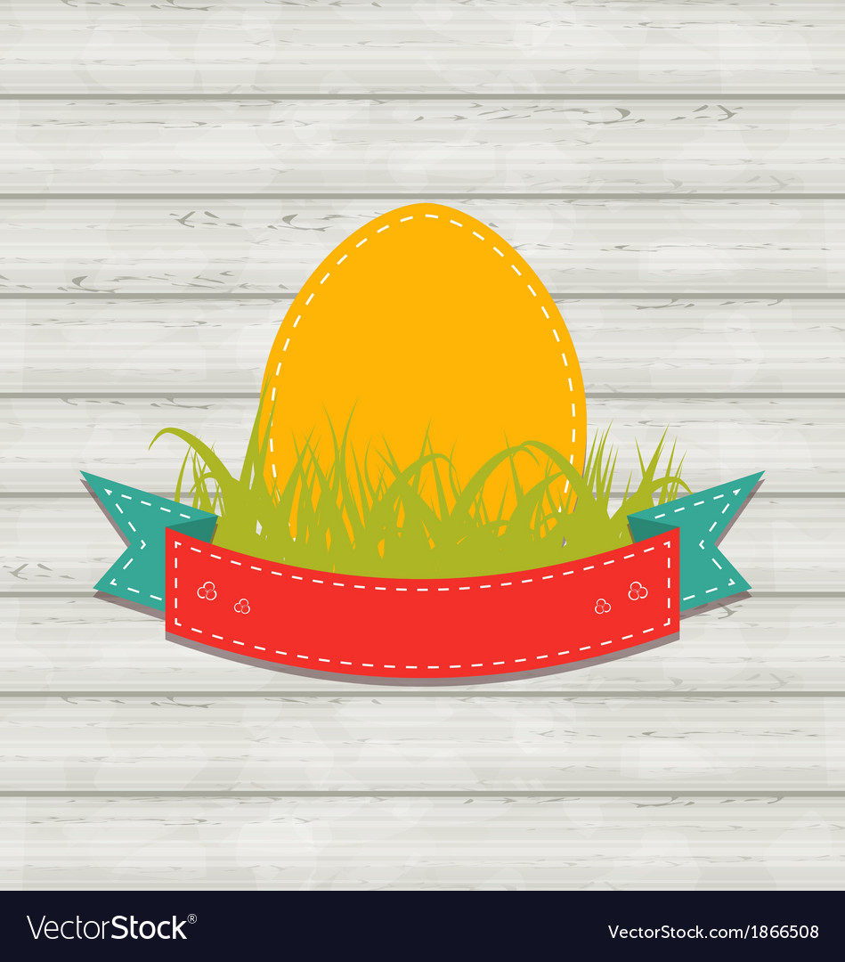 Vintage label with easter egg on wooden background vector | Price: 1 Credit (USD $1)
