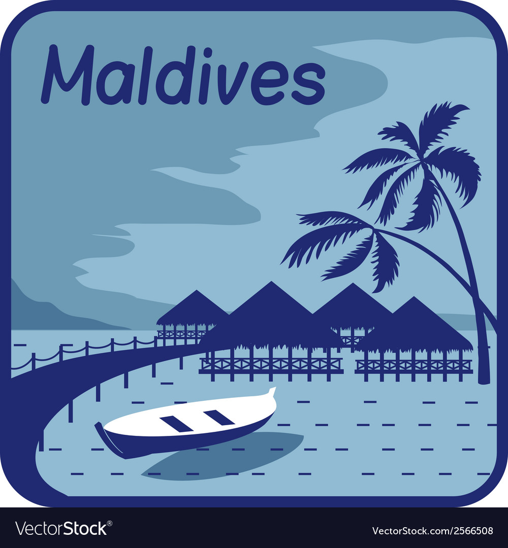 With wood bungalows in maldives vector | Price: 1 Credit (USD $1)