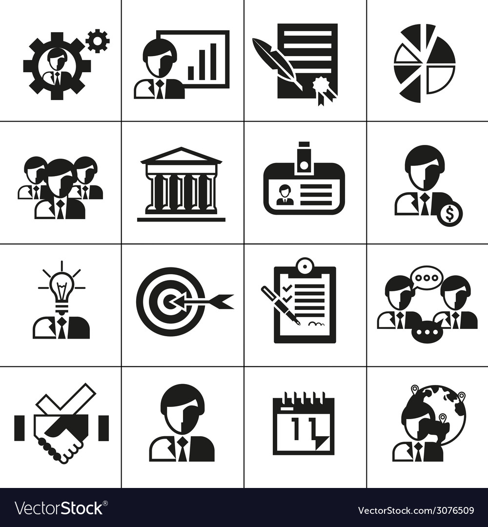 Business management icons black vector | Price: 1 Credit (USD $1)