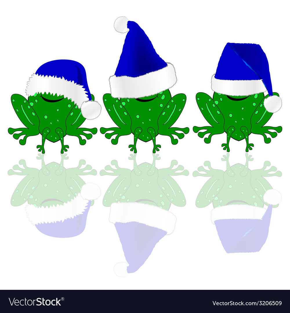 Frog with blue christmas hat vector | Price: 1 Credit (USD $1)