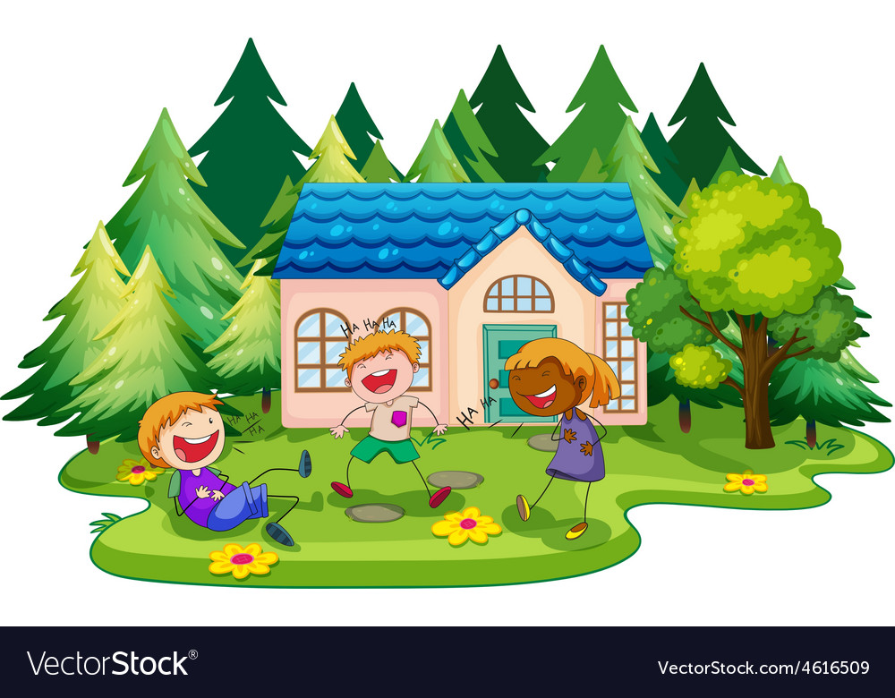 House and children vector | Price: 3 Credit (USD $3)