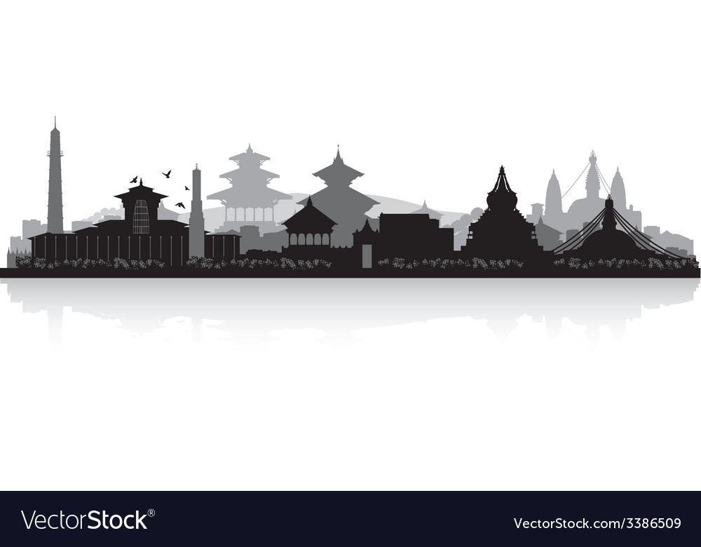 Kathmandu nepal city skyline silhouette vector | Price: 1 Credit (USD $1)
