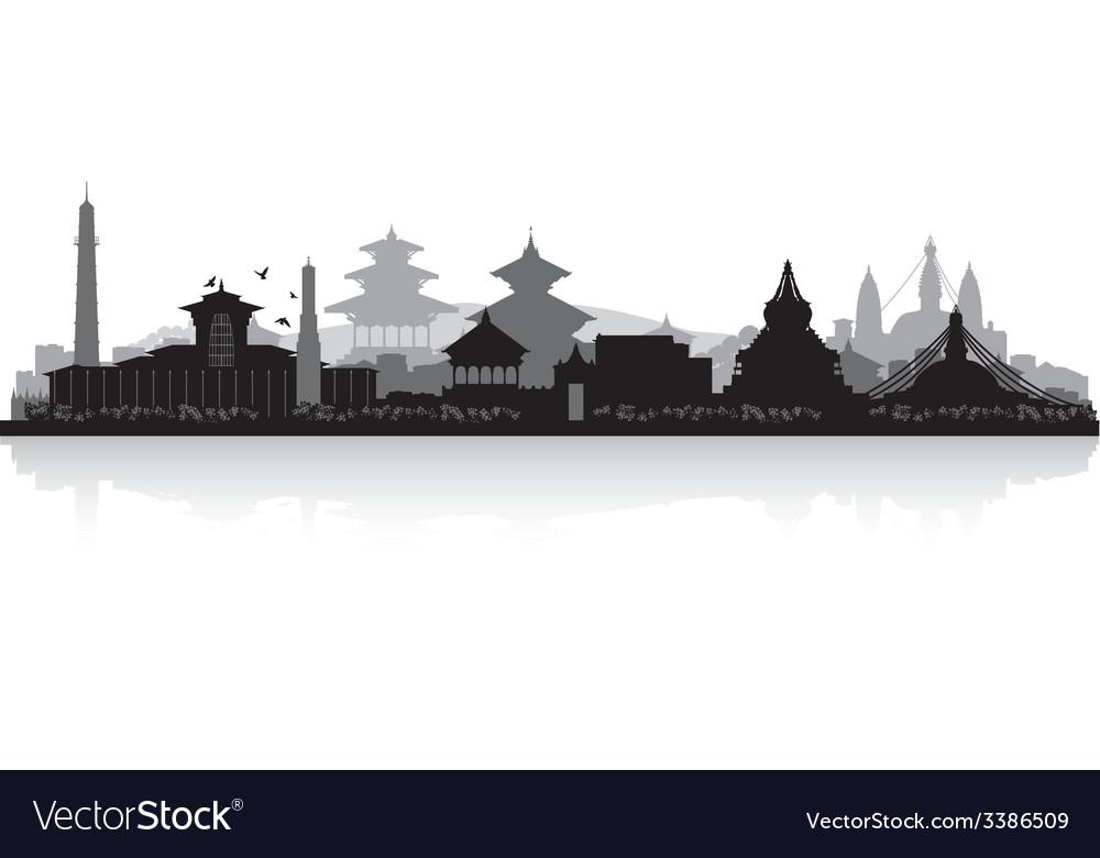 Kathmandu nepal city skyline silhouette vector | Price: 1 Credit (USD $1)