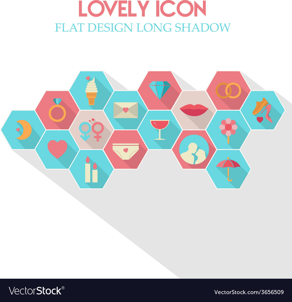 Lovely icon flat design long shadow vector | Price: 1 Credit (USD $1)