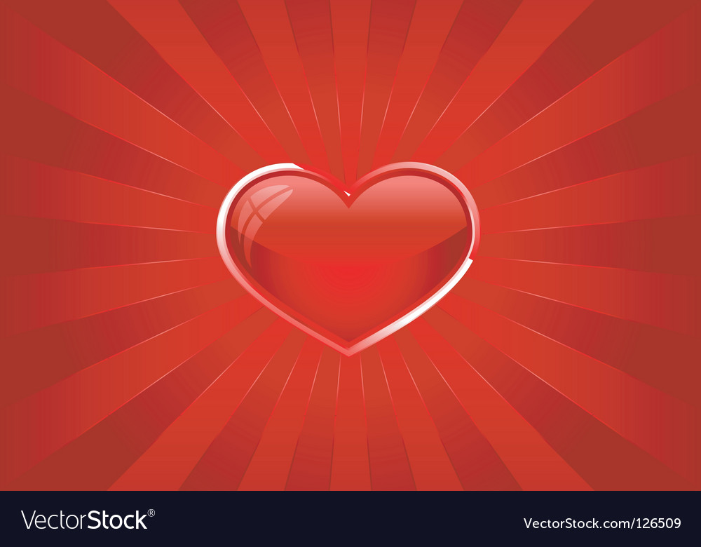 Red light burst with heart vector | Price: 1 Credit (USD $1)