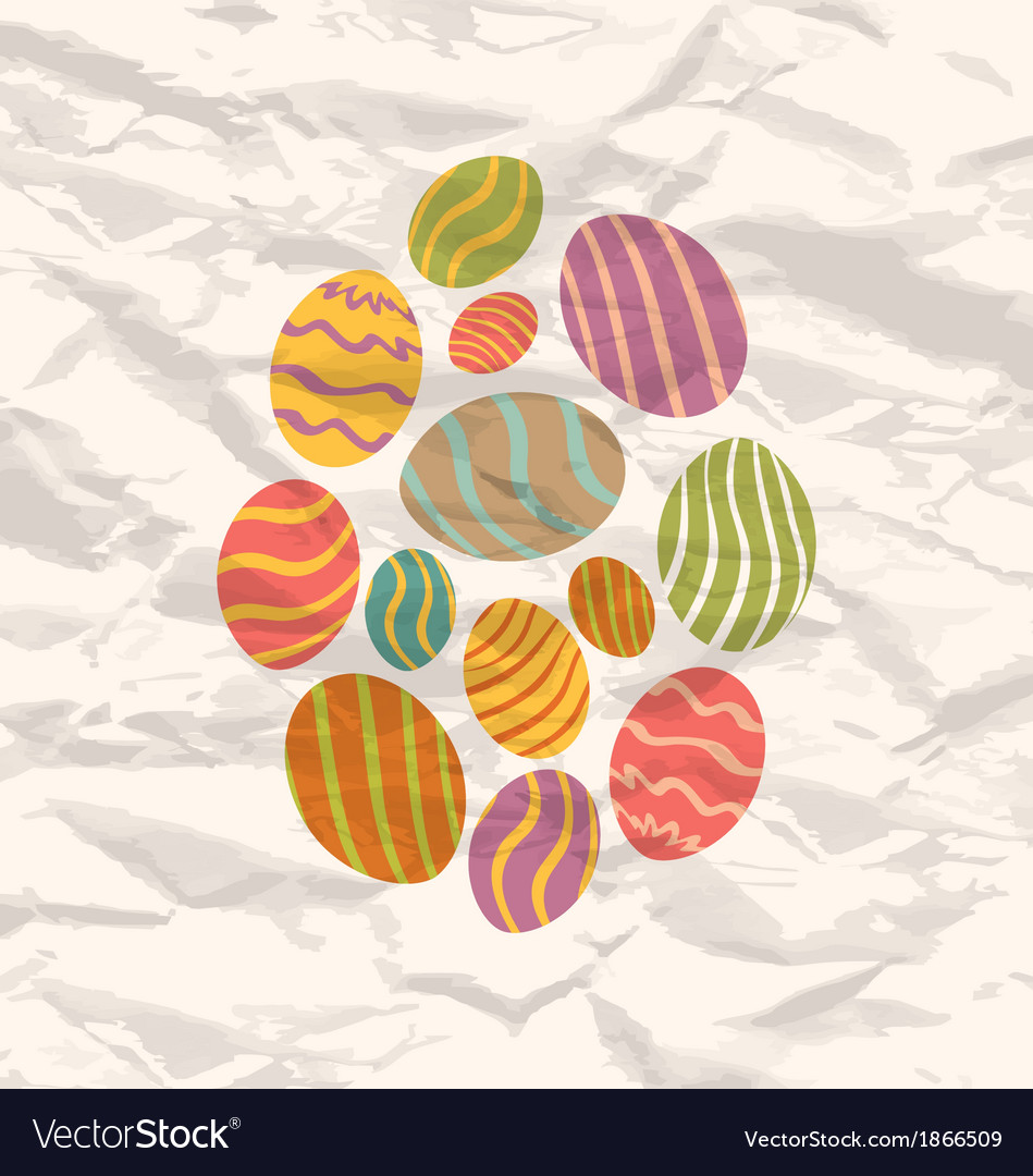 Set easter eggs vintage celebration background vector | Price: 1 Credit (USD $1)