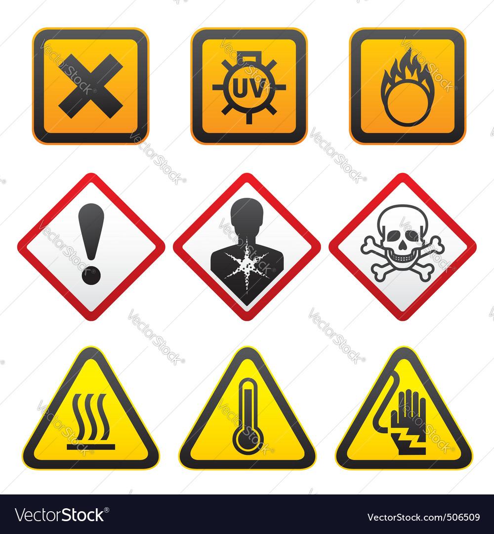 Warning symbols  hazard signsforth set vector | Price: 1 Credit (USD $1)