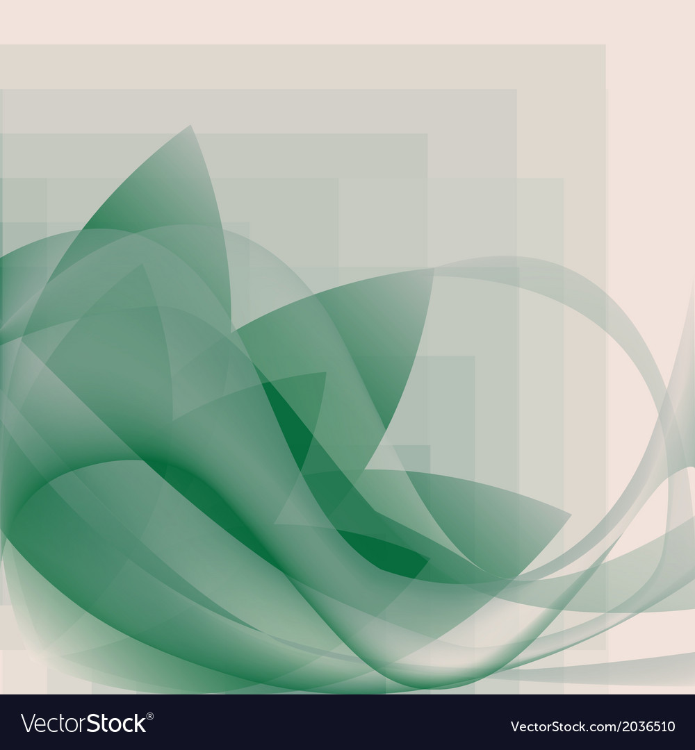 Abstract green waves and flower pattern vector | Price: 1 Credit (USD $1)