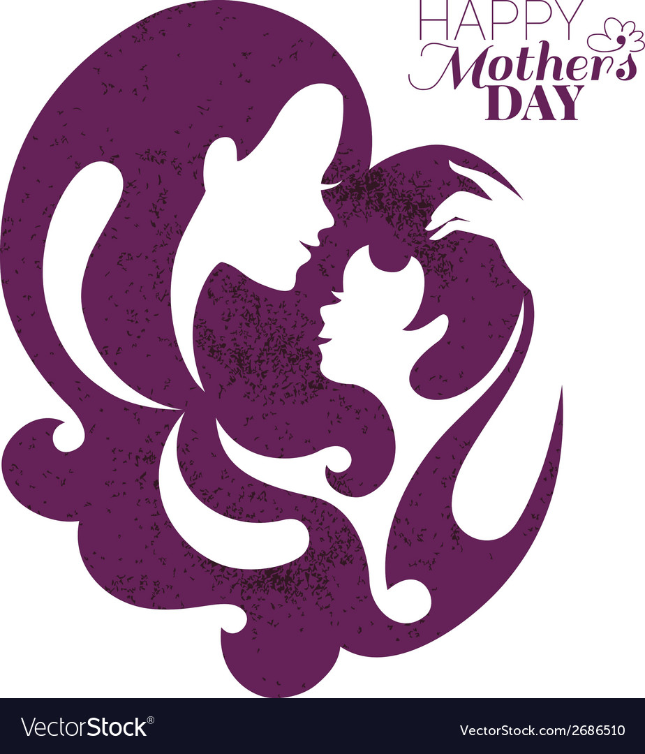Card of happy mothers day beautiful mother vector | Price: 1 Credit (USD $1)