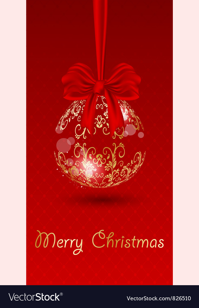Christmas bell on red background vector | Price: 1 Credit (USD $1)