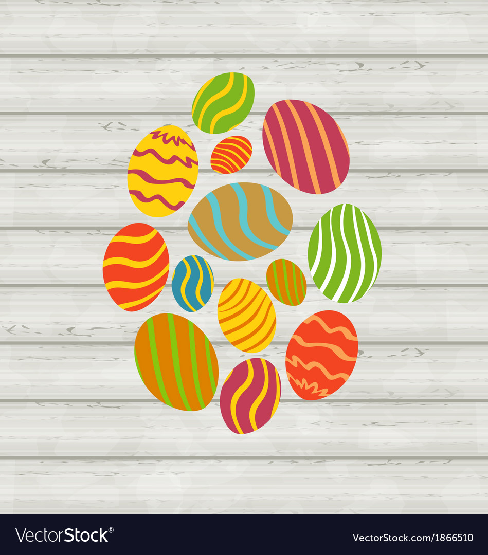 Easter ornamental eggs on wooden background vector | Price: 1 Credit (USD $1)