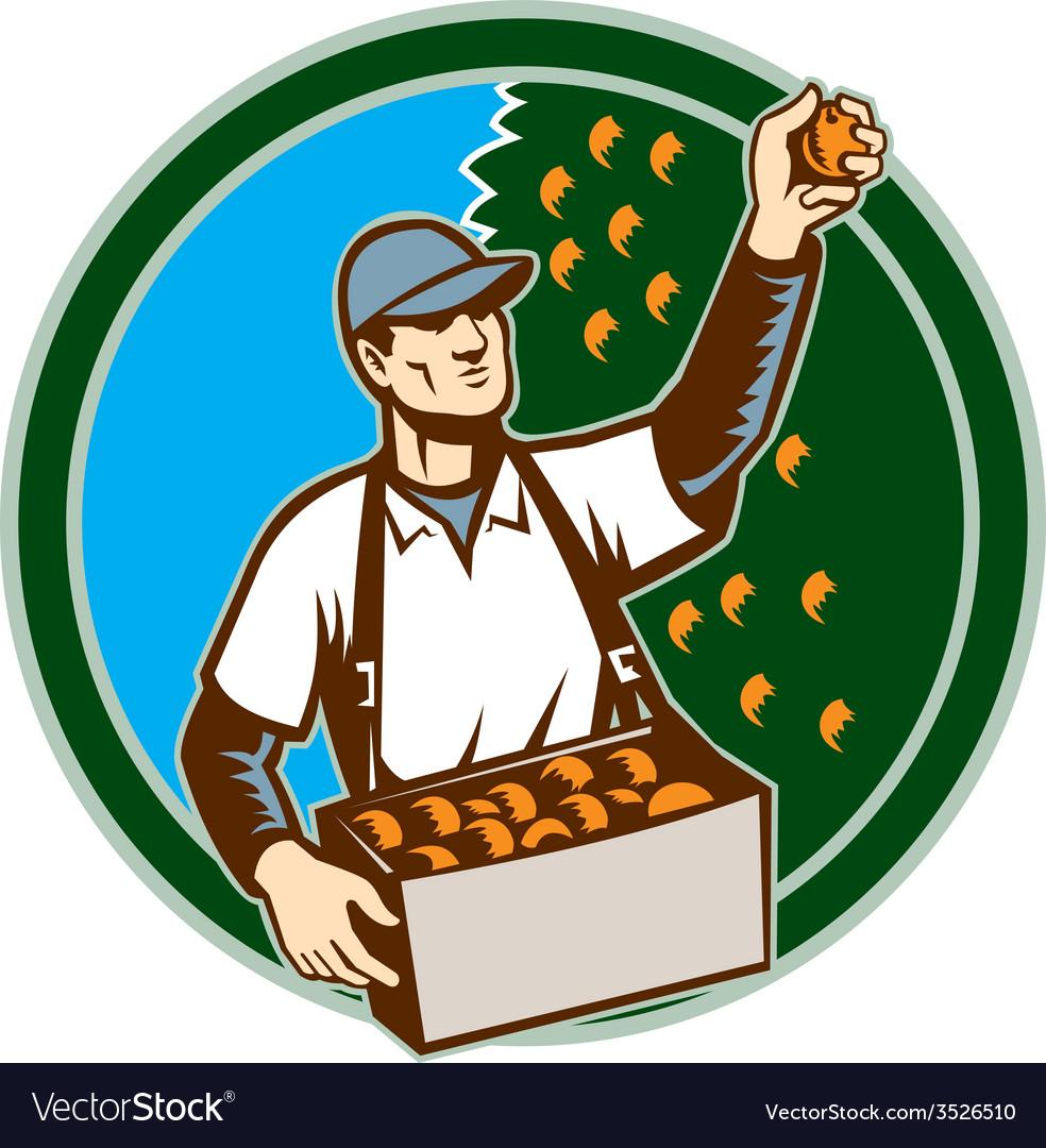 Fruit picker worker picking plum circle vector | Price: 1 Credit (USD $1)