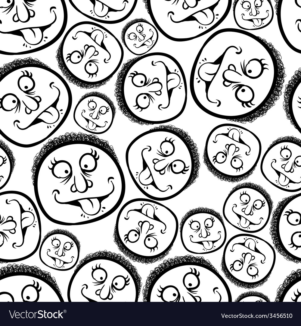 Funny faces seamless background black and white vector | Price: 1 Credit (USD $1)