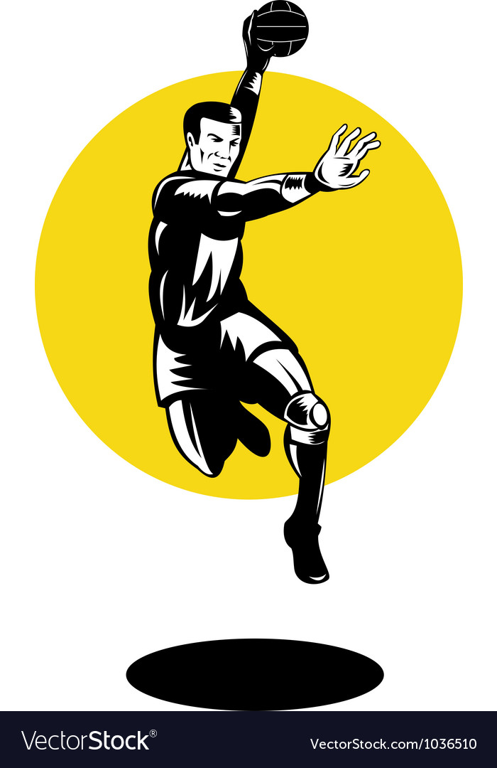 Handball player jumping retro vector | Price: 1 Credit (USD $1)