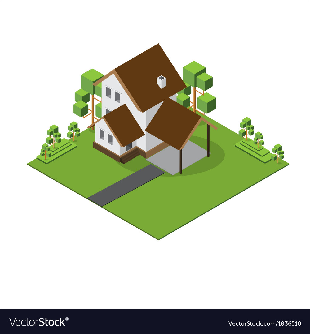 Isometric big house 380 vector | Price: 1 Credit (USD $1)