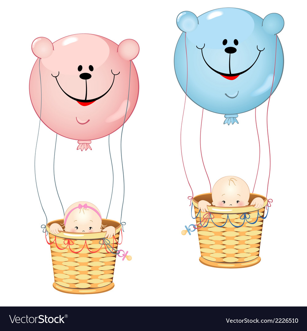 Kids on the balloon vector | Price: 1 Credit (USD $1)
