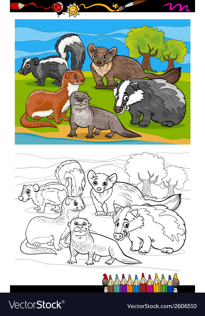 Mustelids animals cartoon coloring book vector | Price: 1 Credit (USD $1)