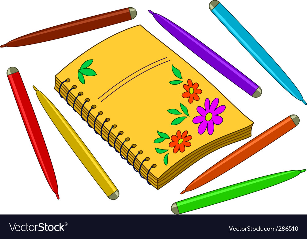 Notebook with flowers vector | Price: 1 Credit (USD $1)