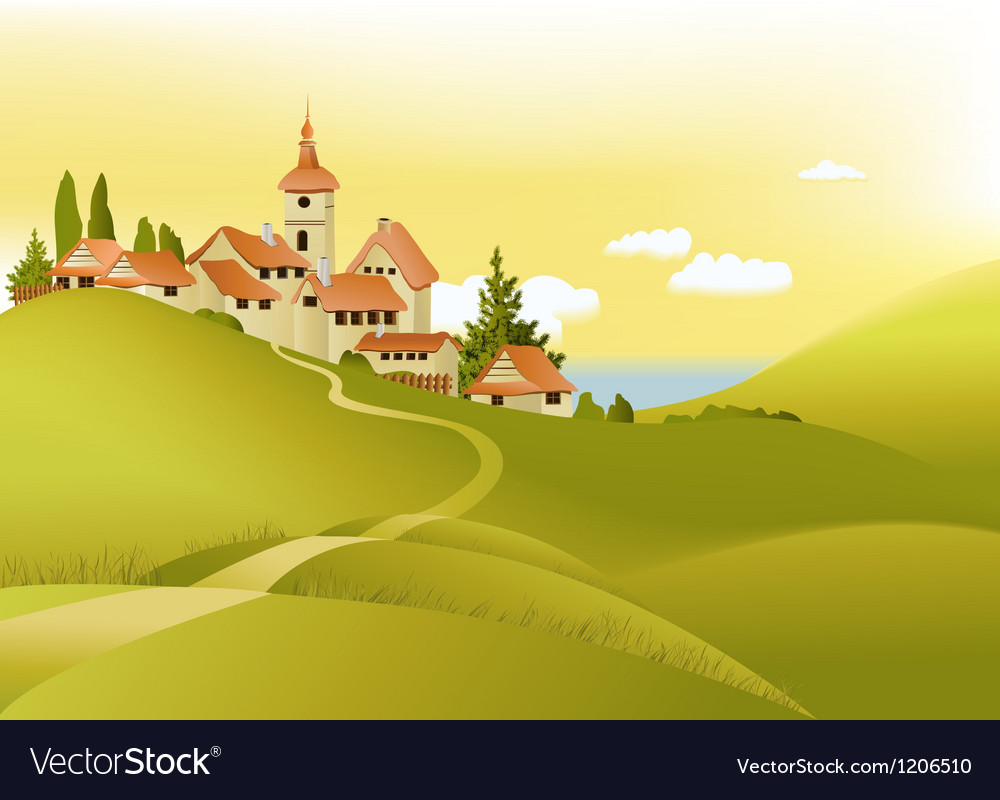 Rural landscape vector   Price: 1 Credit (USD $1)